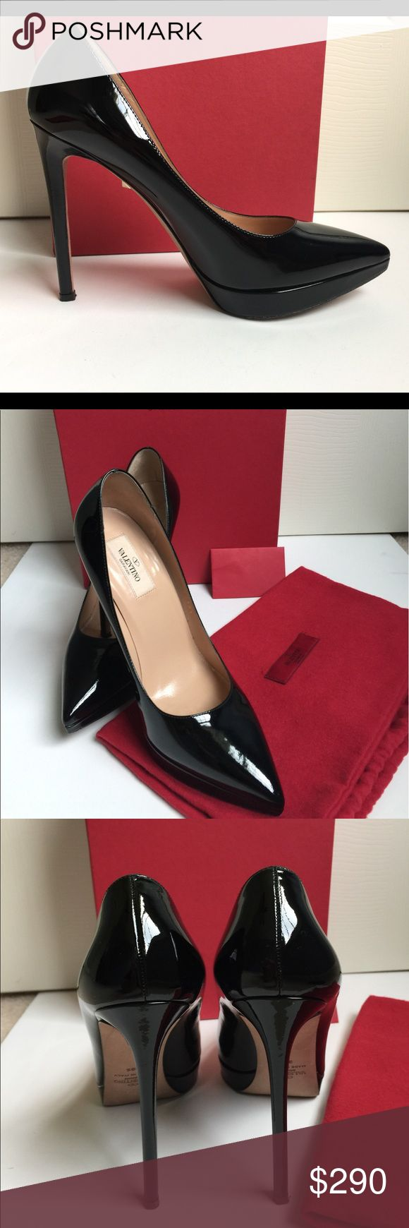 Valentino Black Patent Leather Platform Heels Valentino Garavani 100% Authentic Ultra High Patent Leather Platform Heels - size 38.5 - Color is Nero (Black) - Worn one time for two hours - excellent condition except for soles as shown in picture - Really, they look fabulous - there are no scuffs, marks or anything else on the patent leather in the areas that are visible - Box, dust bag all included. Valentino Garavani Shoes Platforms
