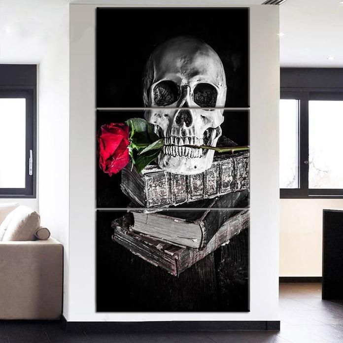 Vulcan Skull Print Cotton T Shirts Skull Wall Art Rose Wall Art Art