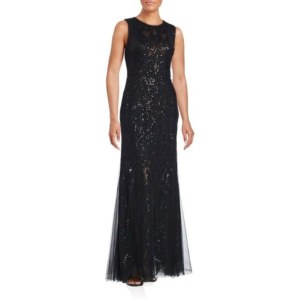 Vera Wang Sequined-Overlay Trumpet Gown ($130) ❤ liked on Polyvore featuring dresses, gowns, sleeveless gown, sequin embellished dress, sequined dresses, sequin evening dresses and sequin gown