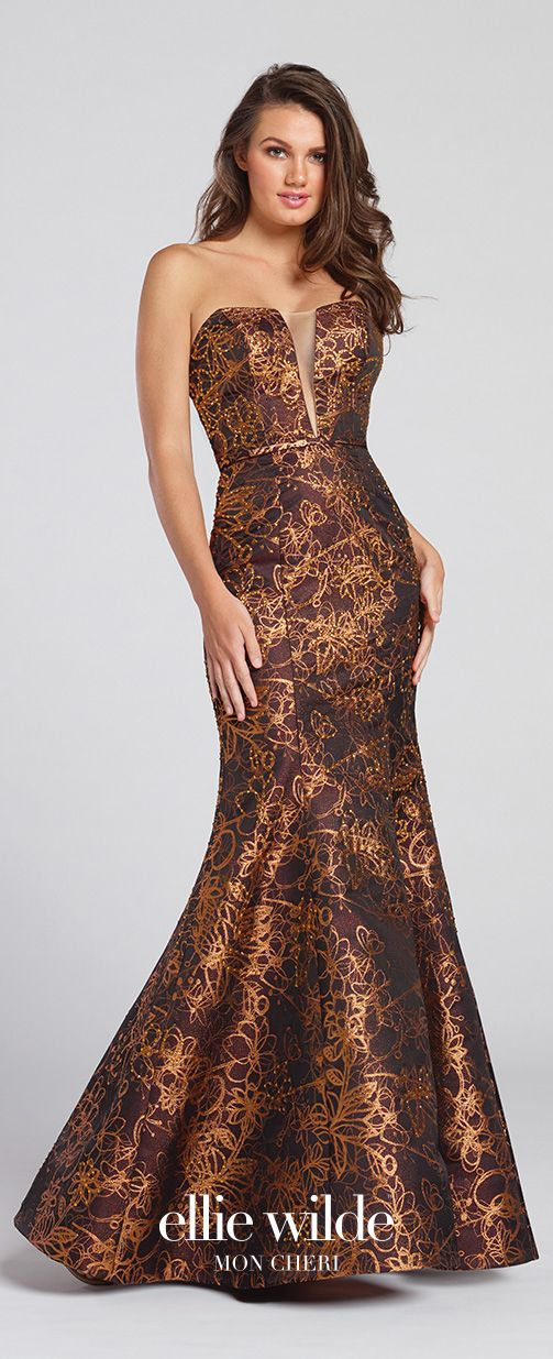 Prom Dresses 2017 - Ellie Wilde for Mon Cheri - Bronze Jacquard Prom Dress with Stone Accents - Style No. EW117112