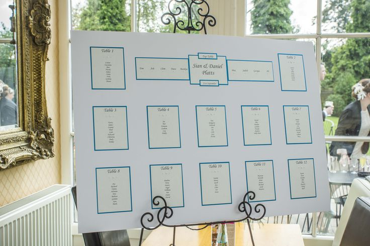 Simple seating plan with touches from your Wedding colours.