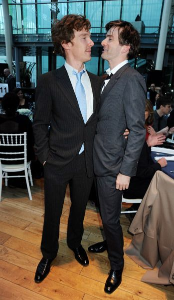 Sherlock, Doctor Who. I love how you can see Benedict's hand on David's side!!! Adorbs!!!