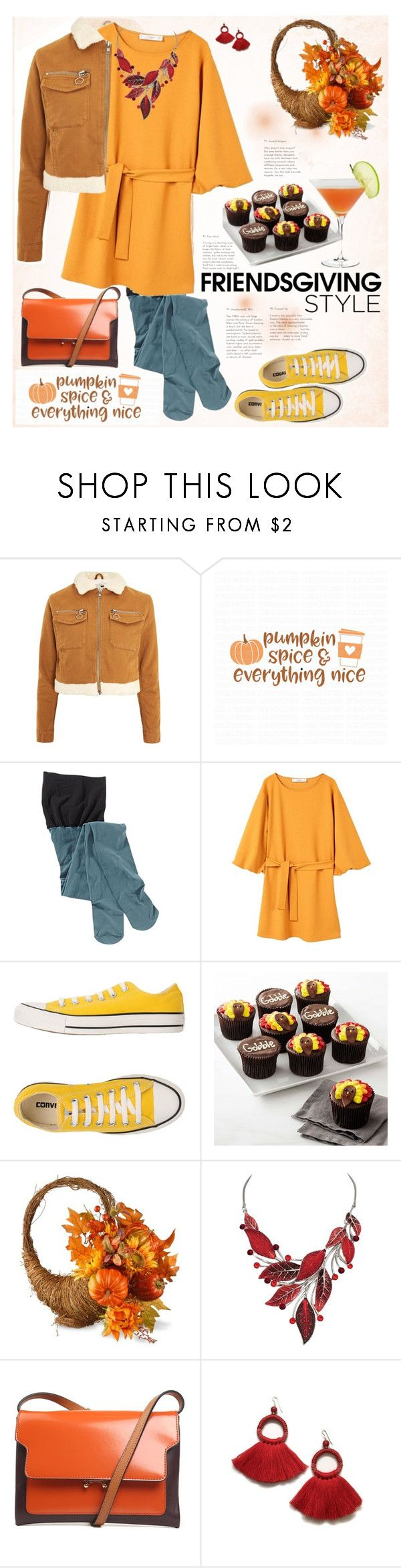 """""""Gather 'Round: Friendsgiving Thanksgiving :)"""" by ellie366 ❤ liked on Polyvore featuring Topshop, Cricut, Title Nine, MANGO, Converse, Williams-Sonoma, National Tree Company, Marni, GetTheLook and yellowdress"""