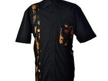 Camicia Rockabilly uomo,con tessuto tattoo vintage
