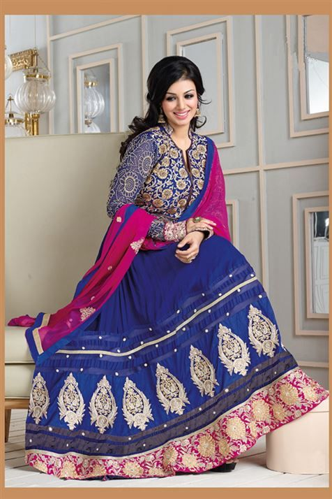 Mesmerising Ayesha Takia Blue, Hot Pink Georgette Heavy Embroidered Long  Anarkali Suit