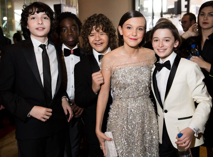 Go Behind the Scenes at the 2017 Golden Globes - Cast of Stranger Things from InStyle.com