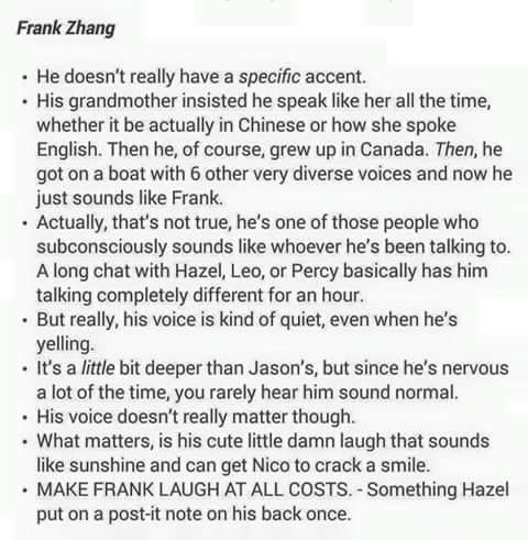 I FEEL LIKE BECAUSE FRANK IS SO BIG HIM HAVING A MELODIC LAUGH IS REALLY FITTING FOR HIS PERSONALITY BECAUSE FRANK COULD BITH HUG YOU AND KILL YOU AND I THINK EITHER IS OKAY YOU KNOW