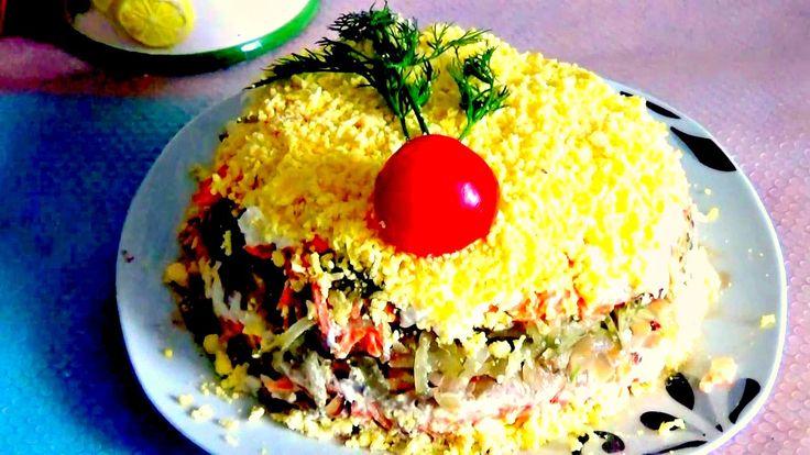 Салат с куриной печёнкой, слоёный. Легко и просто
