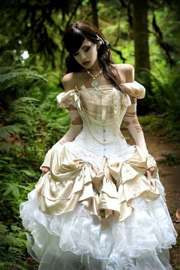 off shoulder steampunk wedding dress