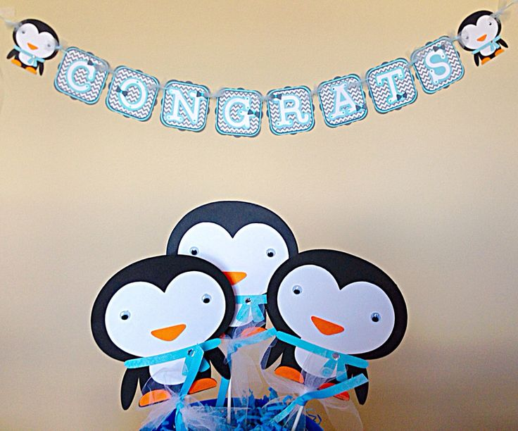 3 penguin centerpiece sticks. Birthday party Decoration. Baby Shower Decoration by PaisleysPaperParty on Etsy https://www.etsy.com/listing/192443367/3-penguin-centerpiece-sticks-birthday
