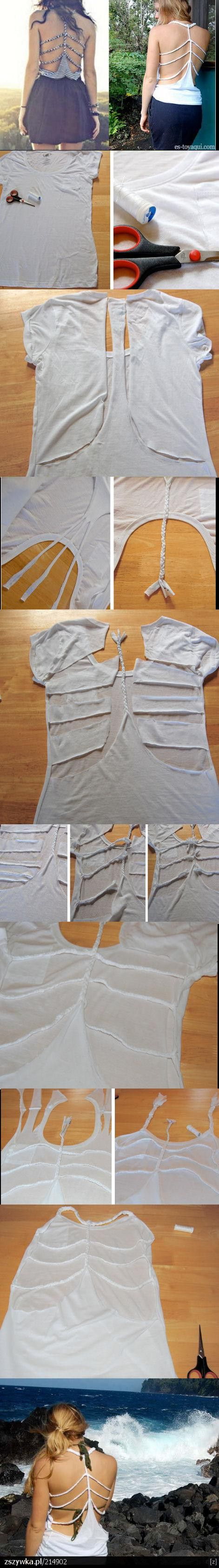 Open Back Cut Up Shirt - I probably wouldn't cut as much out of the back, but I might be able to fashion on cute work out shirt to keep me cool, and be cute with a Bandeau