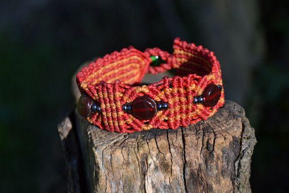 """Bracelet Macramé """"au coin du feu"""" Verre"""
