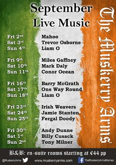 Here's our live weekend music lineup for September. There's something for everyone. And don't forget, we've got live music every night in the bar.