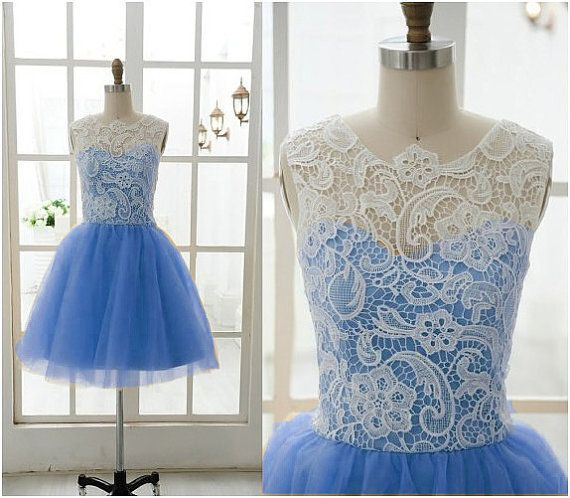 Blue short prom dress white lace short prom by TianShiDresses