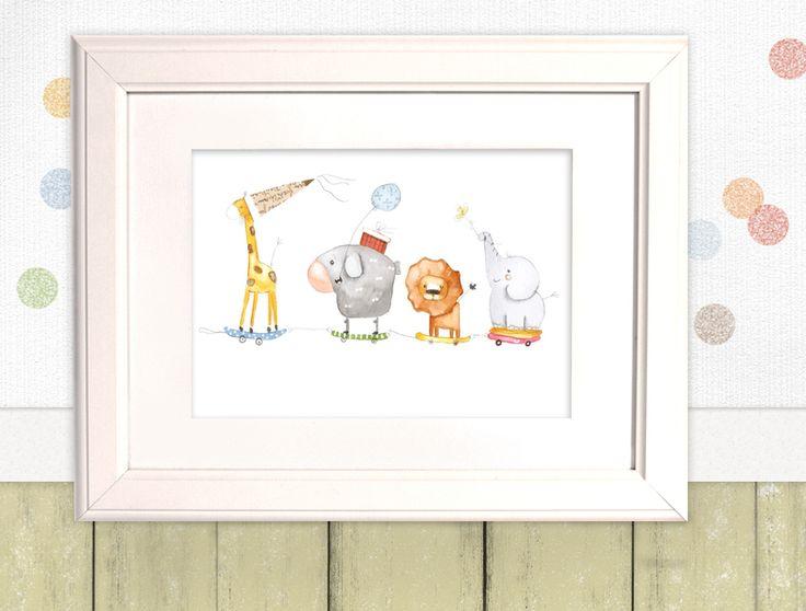 """Kinderbild """"Tierzug""""  Vier Freunde und jede Menge gute Laune - hier kommt der niedliche Feier-Zug!  Dieses dezente Kinderbild passt garantiert in jedes Kinderzimmer und ist auch schon im..."""