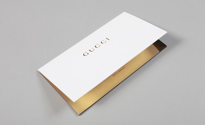 Featuring a simple die-cut logo, Gucci's card was held together with a magnetic strip