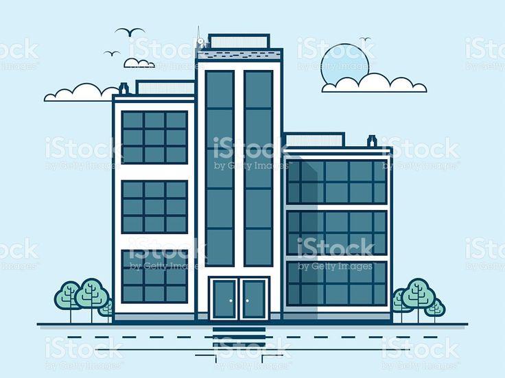 Городской улицы с офисами, административное Здание современной архитектуры в Сток Вектор Стоковая фотография