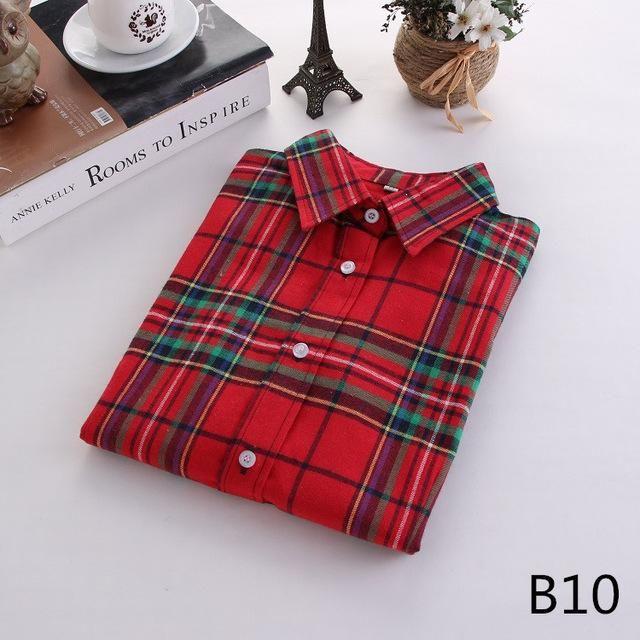 Plaid Long Sleeve Shirt Sleeve Length(cm): Full Fabric Type: Flannel Collar: Tur... 15