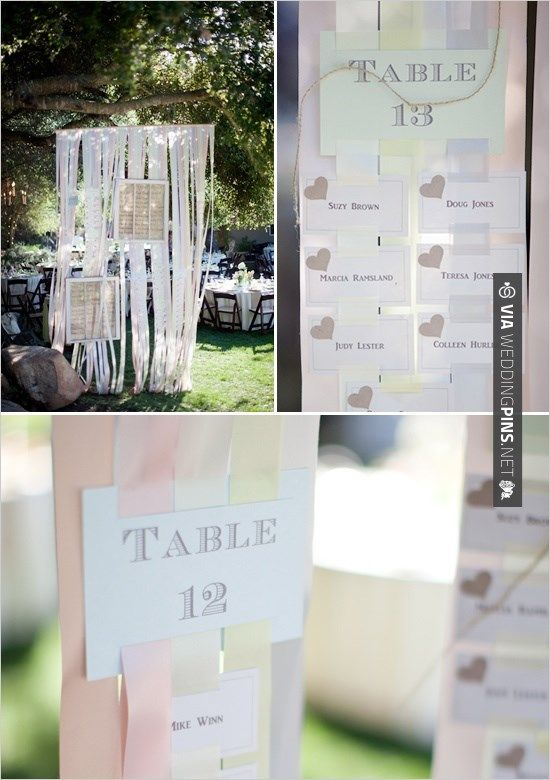 Brilliant - ribbon table seating chart   CHECK OUT MORE IDEAS AT WEDDINGPINS.NET   #weddings #escortcards #weddingescortcards #coolideas #events #forweddings #ilovecards #romance #beauty #planners #cards #weddingdecorations