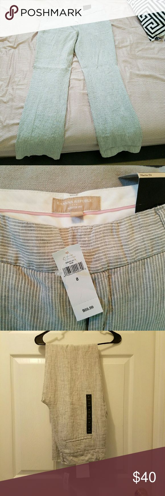 Banana Republic Martin Fit Grey Stripe Linen Pants New with tags! Never worn, light grey striped linen pants. Perfect for summer! Martin fit. Banana Republic Pants Trousers