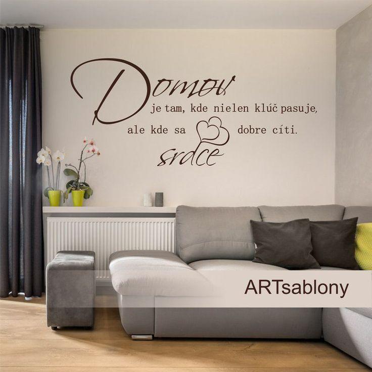 (3799n) #Nálepka na stenu - #Domov, kľúč, srdce #artsablony