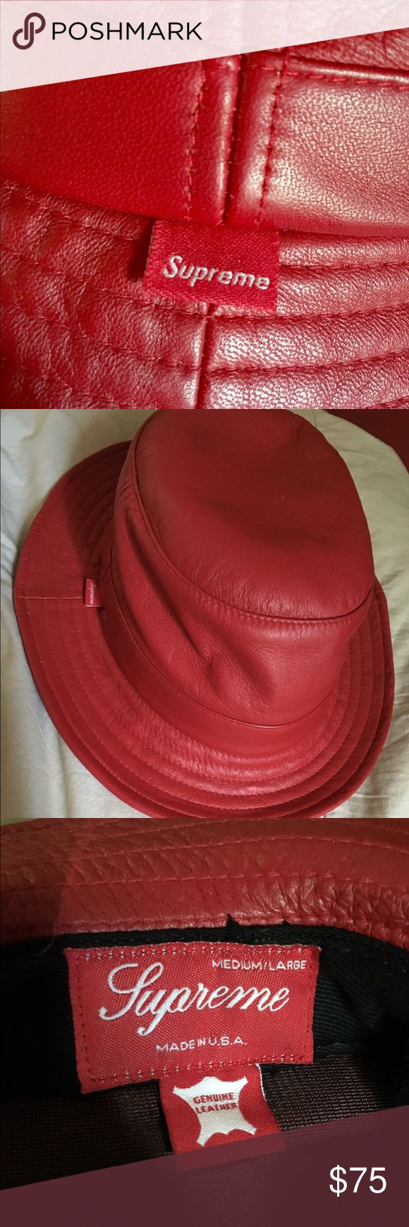 Supreme Crusher Bucket Hat Red Leather This is a never worn 10/10 Supreme Red Leather Crusher Bucket hat extremely rare and limited hat is signed by the famous Odd future group Supreme Accessories Hats