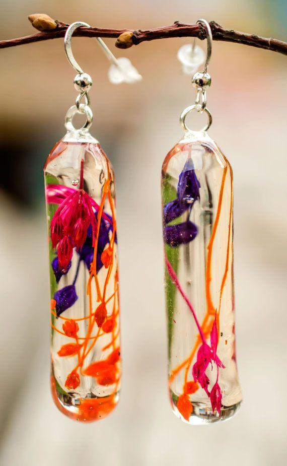 Lang botanische oorbellen oranje rood paars echte bloemen hars oorbellen botanische sieraden boho stijl sieraden droogbloemen oorbellen cilinder