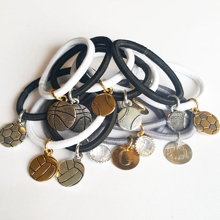 Get any charm you like! Add these to your hair tie holder bangle or rock them by themself.You have a choice of your hair tie color, metal type, and charm.Hair tie color:BlackGrayWhiteCharm color:GildSilverRose Gold is only for personalized charms.Charms:Basketball, volleyball, baseball, soccer, football, crystals, anchor, and personalized that disk.Personalized disk can be engraved with anything you like and comes in gold, silver, and rose gold. Your engrave names, dates, teams, etc. The sky…
