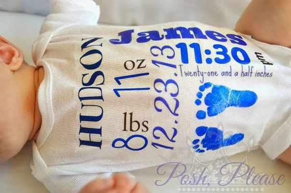 Newborn Birth Announcement Take Home Outfit Keepsake Outfit Personalized Name Birthday Weight Time Footprints  BOY or GIRL YOU Chose Color on Etsy, $12.75