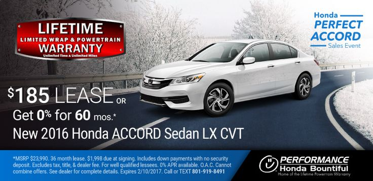 New 2017 Honda Accord: Purchase a New 2017 Accord with a Lifetime Limited Wrap & Powertrain Warranty for only $22,241 or lease for only $185 per month or get 0% Financing for 60 months OAC. https://www.performanceut.com/offers/new-2017-honda-accord-bountiful-0117?utm_source=rss&utm_medium=Sendible&utm_campaign=RSS