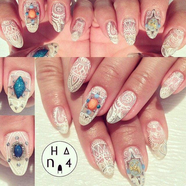 クレイジーネイルアート, クレイジー釘, レースの釘, 輝きの爪, ヘナネイルアート, ゴージャスな爪, ネイルのアイデア, Beauty Nail,  Nail Arts