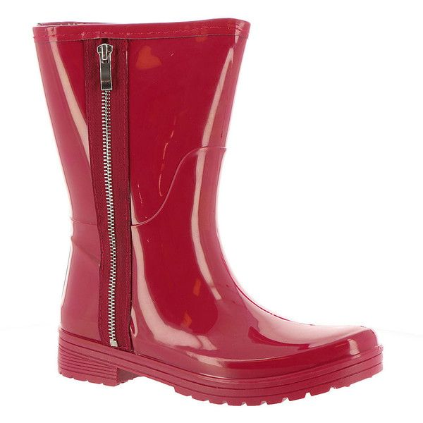 Unlisted Rain Zip Women's Red Boot (135 ILS) ❤ liked on Polyvore featuring shoes, boots, ankle booties, red, flat heel booties, wellies boots, side zipper boots, wellington boots and zipper boots