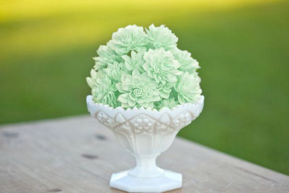 10 Mint Wooden Flowers Wedding Decorations by companyfortytwo, $25.00