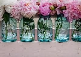 Peonies in mason jars would be beautiful scattered around the reception.: Mason Jars Flowers, Blue Mason Jars, Ball Jars, Pink Flowers, Idea, Blue Jars, Mason Jars Centerpieces, Masonjar, Pink Peonies