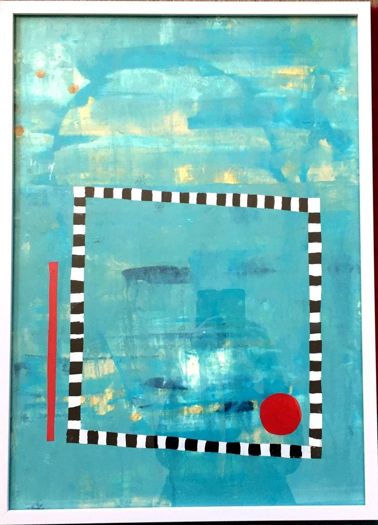 Akryl/collage 50x70 på papper 400g med vit ram.