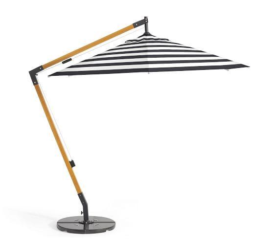 Premium Sunbrella® Wooden Cantilever Umbrella – Stripe | Pottery Barn