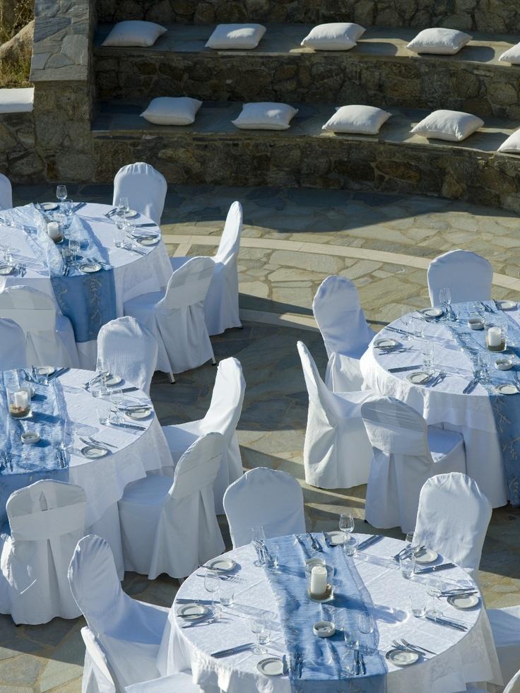 Gala setup detail at outdoor Amphitheater of Mykonos Grand Hotel & Resort