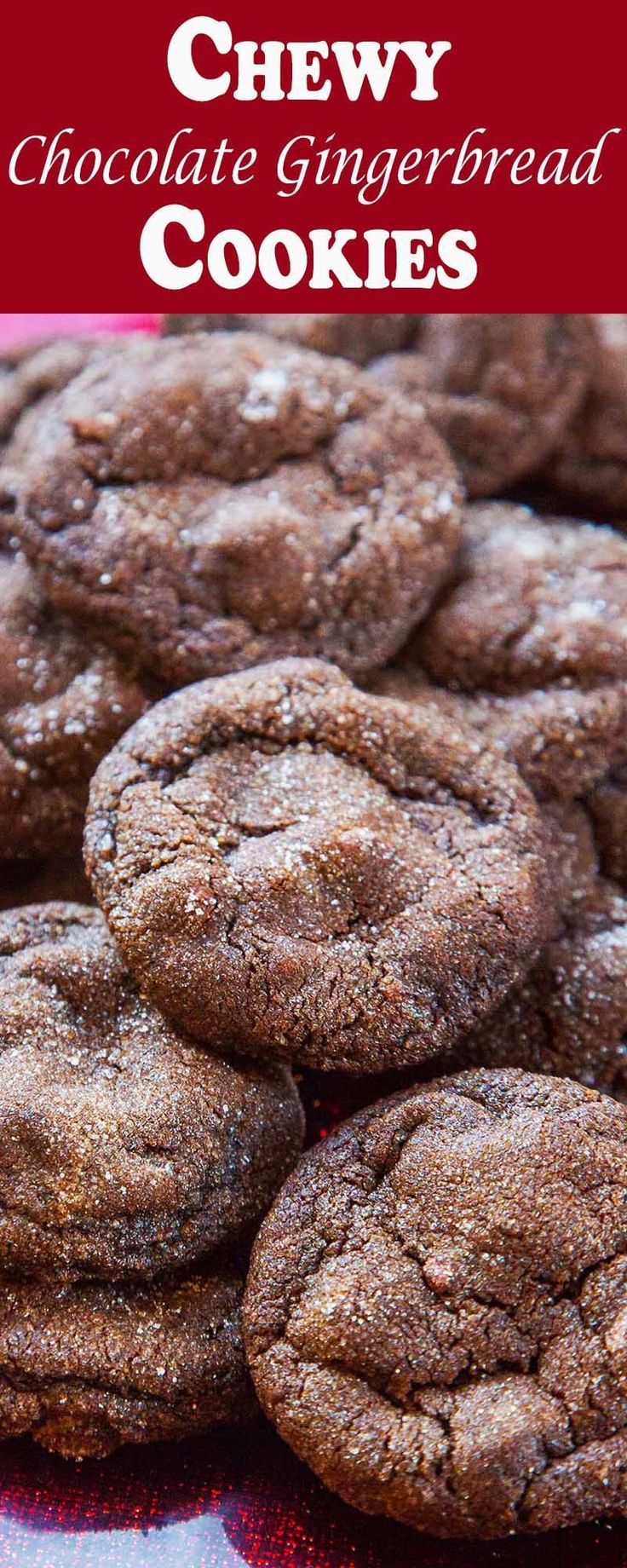 Soft, chewy chocolate gingerbread cookies! Made with dark chocolate, cocoa powder, and fresh ginger.