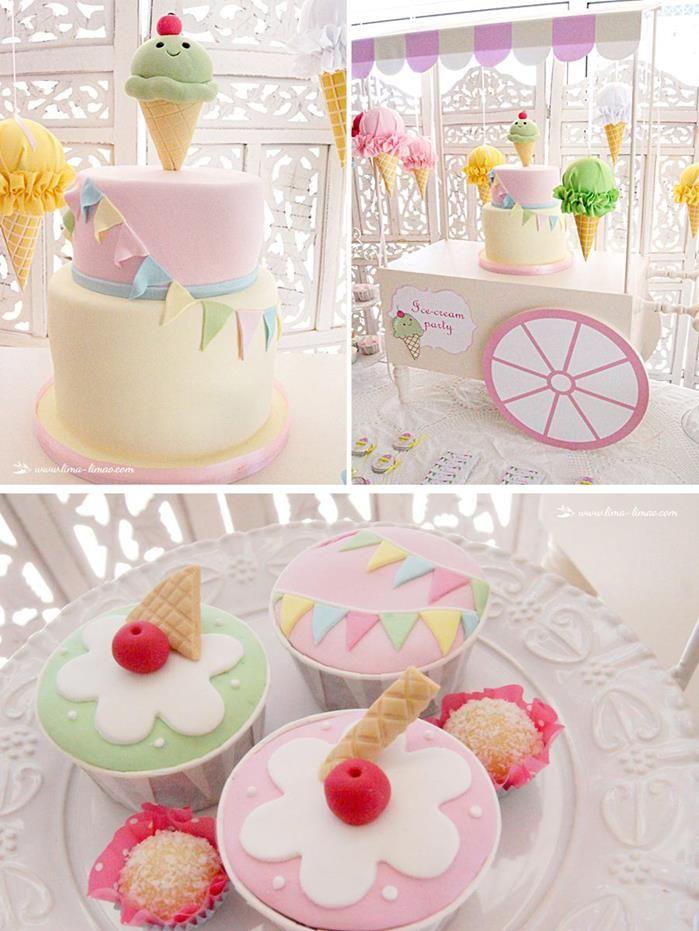 Idea para fiesta de cumpleaños de niña inspirados en conos o mantecado.