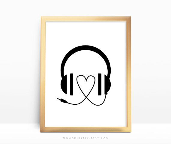 SALE -  Heart Headphones, Music Headphones, Music Print, Music Poster, Heart Shape, Black White, Dorm, Apartment, Festival, Modernism