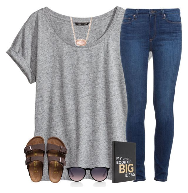 """finally got birks!!"" by kreeves7 ❤ liked on Polyvore featuring H&M, Paige Denim, Birkenstock, Kendra Scott and Ray-Ban"