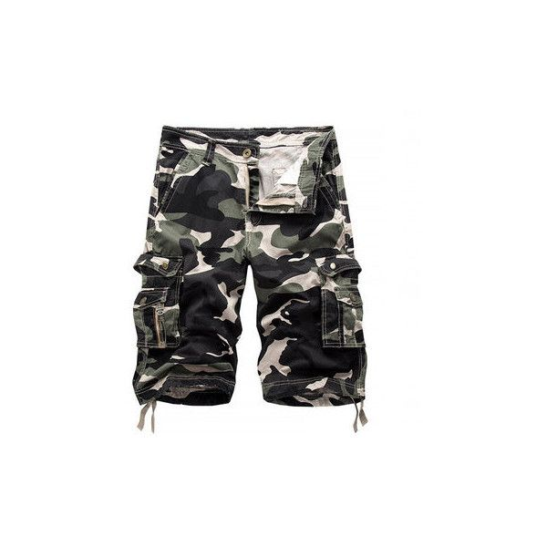 s Camo Printed Multi-pocket Knee Length Cargo Shorts Casual Beach... ($26) ❤ liked on Polyvore featuring men's fashion, men's clothing, men's shorts, men pants & shorts shorts, white, mens beach shorts, mens white shorts, mens white cotton shorts, mens camo shorts and men's apparel