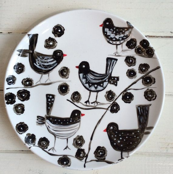 Hand painted Artwork on Porcelain Plate/Birds Painting/ Modern Art/ Painting/ Birds/ Birdson the Tree