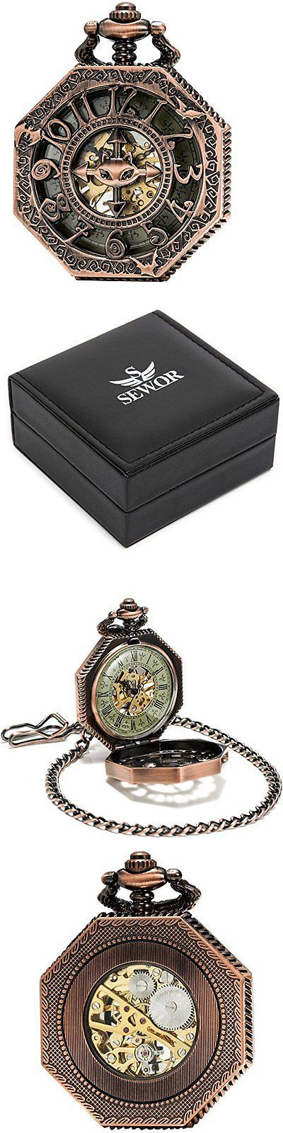 Antique 3940: Sewor Octagon Red Copper Skeleton Pocket Watch Bat Style Steampunk Mechanical... -> BUY IT NOW ONLY: $34.2 on eBay!