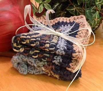 Fashion in the Kitchen! Crochet dishcloth, #kitchen set, towel set, blue brown potholder set by #OnceUponARoll for $10.80
