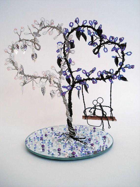 Corazón doble alambre arte árbol decoración de la por wireforest