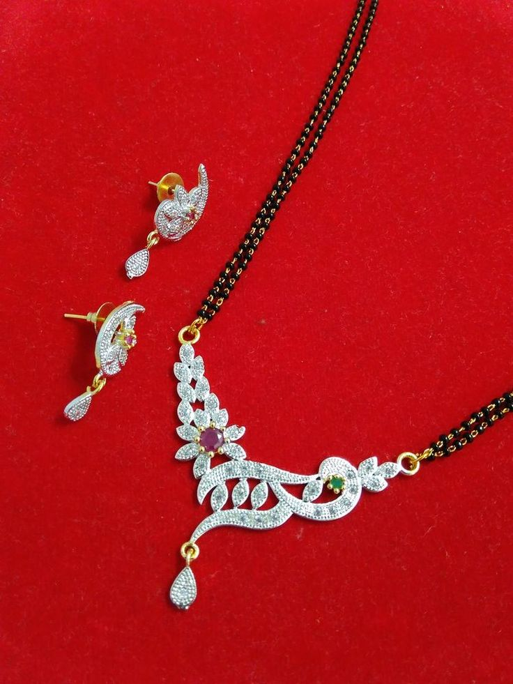 22k gold plated designer american diamond mangalsutra with black beads chain-1