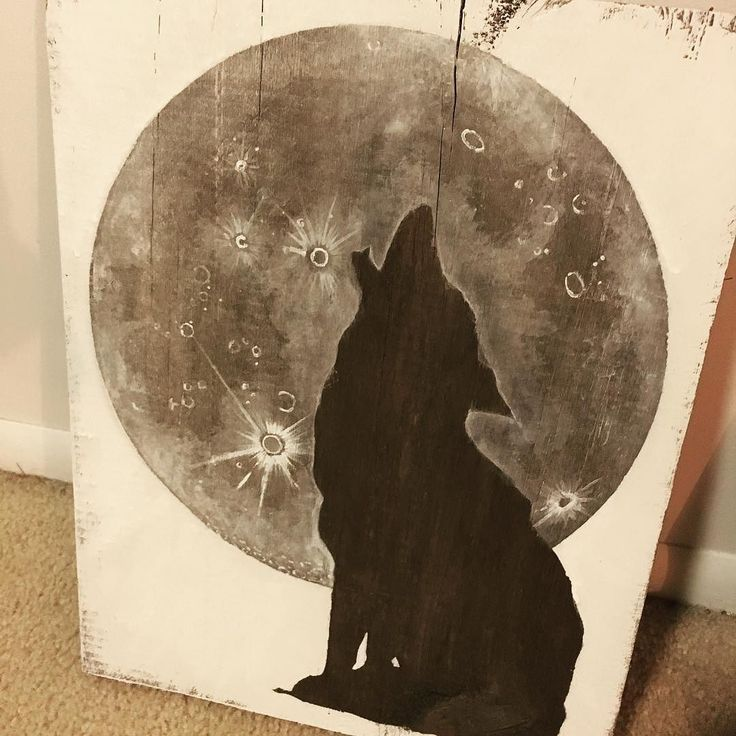 The painting is finished and ready to go with me to the West Burlington Flea Market tomorrow! Hopefully it finds a new home :) Otherwise it will be listed on my Etsy shop next week! #painting #wood #wolf #moon #fleamarket #westburlington #thetimidtortoise #etsy