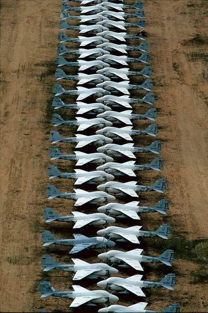 Aircraft graveyard at Davis-Monthan Air Force Base, near Tucson, Arizona: