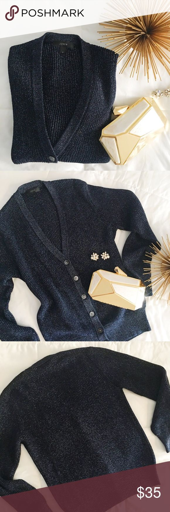 J. Crew Metallic Navy Blue and Silver Cardigan Super fun and festive metallic cardigan. Navy blue and silver. Size small. Has stretch to it. J. Crew Sweaters Cardigans